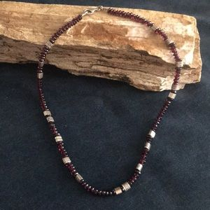 Garnet and Sterling Silver Beaded Necklace